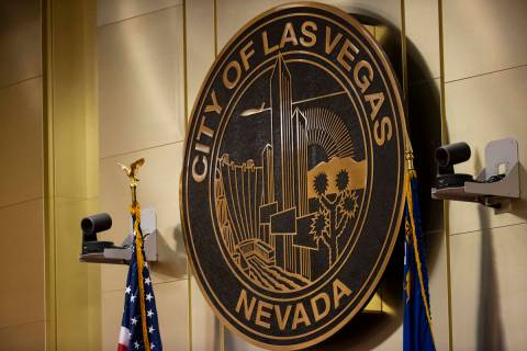 The City of Las Vegas seal is seen during a Las Vegas City Council meeting in Las Vegas on Wedn ...