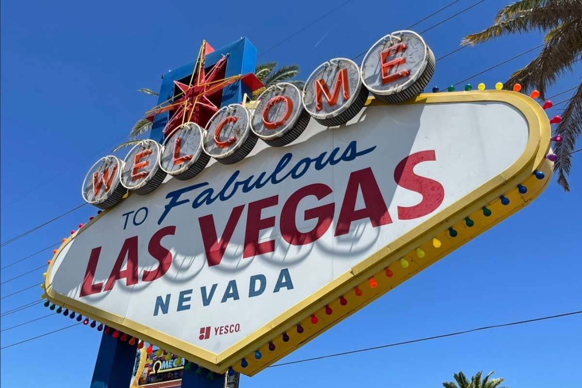 Welcome to Fabulous Las Vegas sign celebrates Pride Month. (Clark County via Twitter)