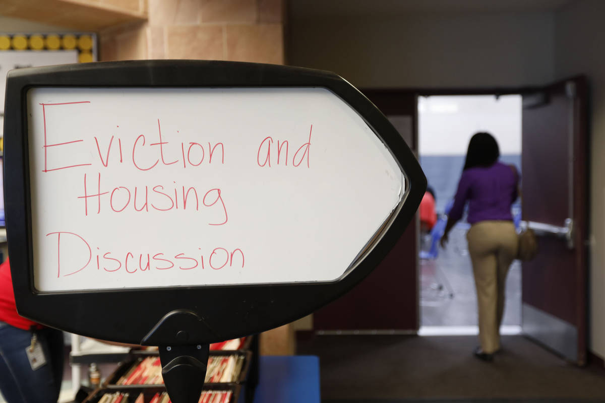 A sign for a public forum is seen at Desert Breeze Community Center in Las Vegas, Wednesday, Ju ...