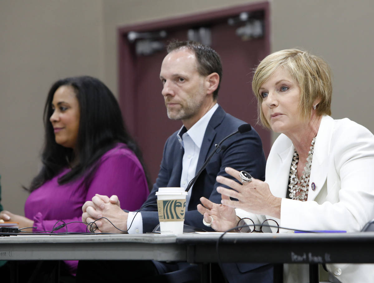 Rep. Susie Lee, D-Nev., right, speaks during a Housing Resource Talk at Desert Breeze Community ...