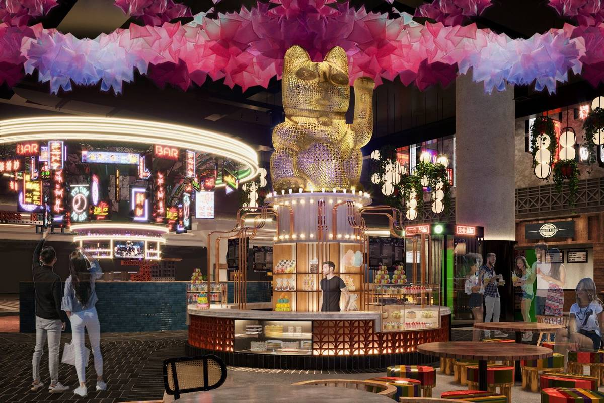 An artist's rendering of the dessert stalls at Resorts World's Famous Foods Street Eats, which ...