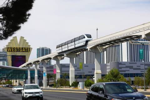 The Las Vegas Monorail near Paradise road on the route to the Las Vegas Convention Center Stati ...
