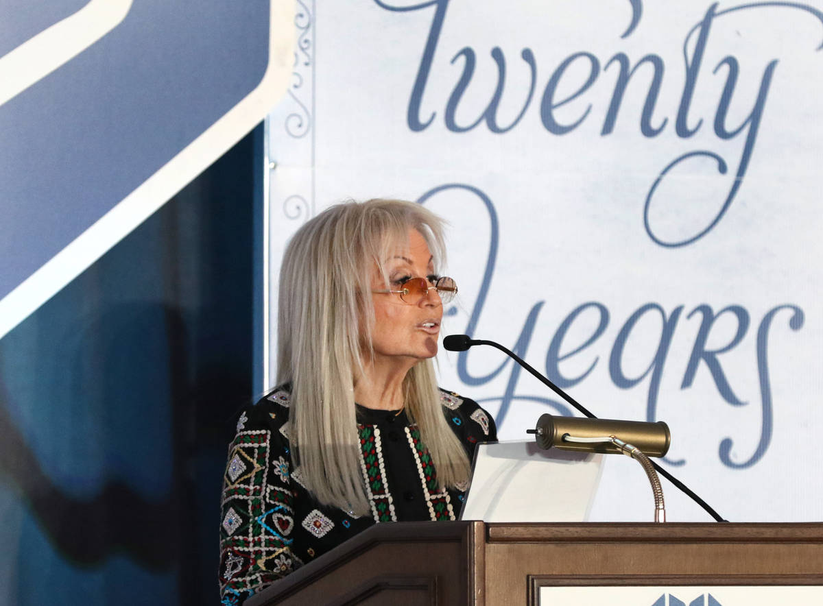 Dr. Miriam Adelson speaks during the 20th anniversary luncheon for the Adelson Clinic for Drug ...
