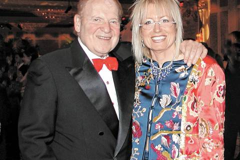 Sheldon Adelson and his wife Dr. Miriam Adelson pose for a photo during the Milton I. Schwartz ...