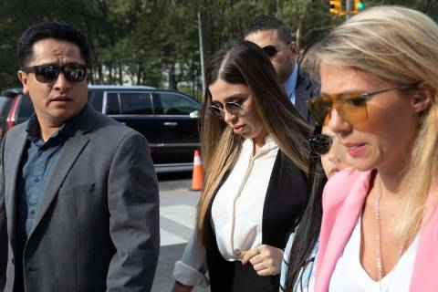 In this July 17, 2019 file photo, Emma Coronel Aispuro, center, wife of Mexican drug lord Joaqu ...