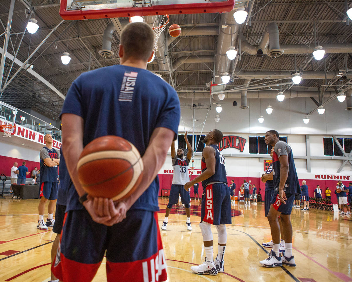 Forward Jaylen Brown (33), of the Boston Celtics, center, attempt a free-throw after the USA ba ...