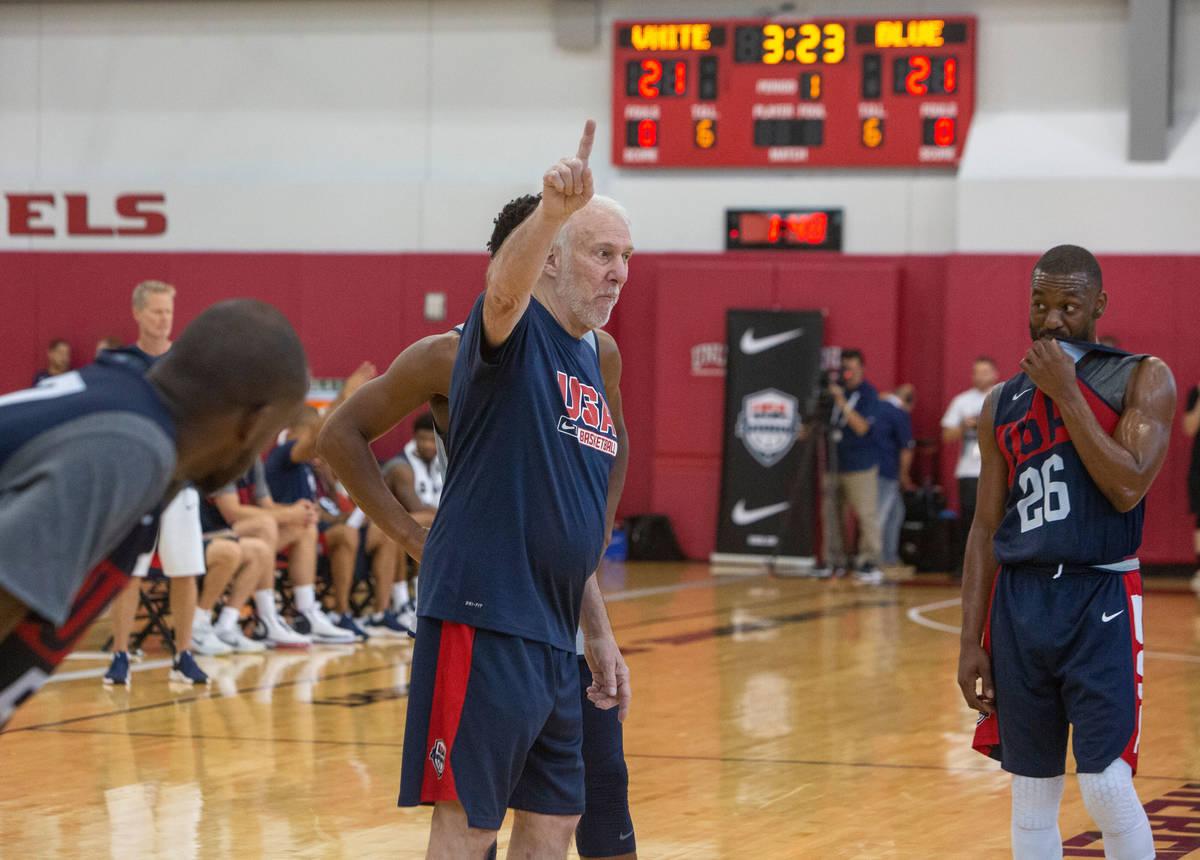 San Antonio Spurs head coach Gregg Popovich, coaches during the USA basketball scrimmage, while ...