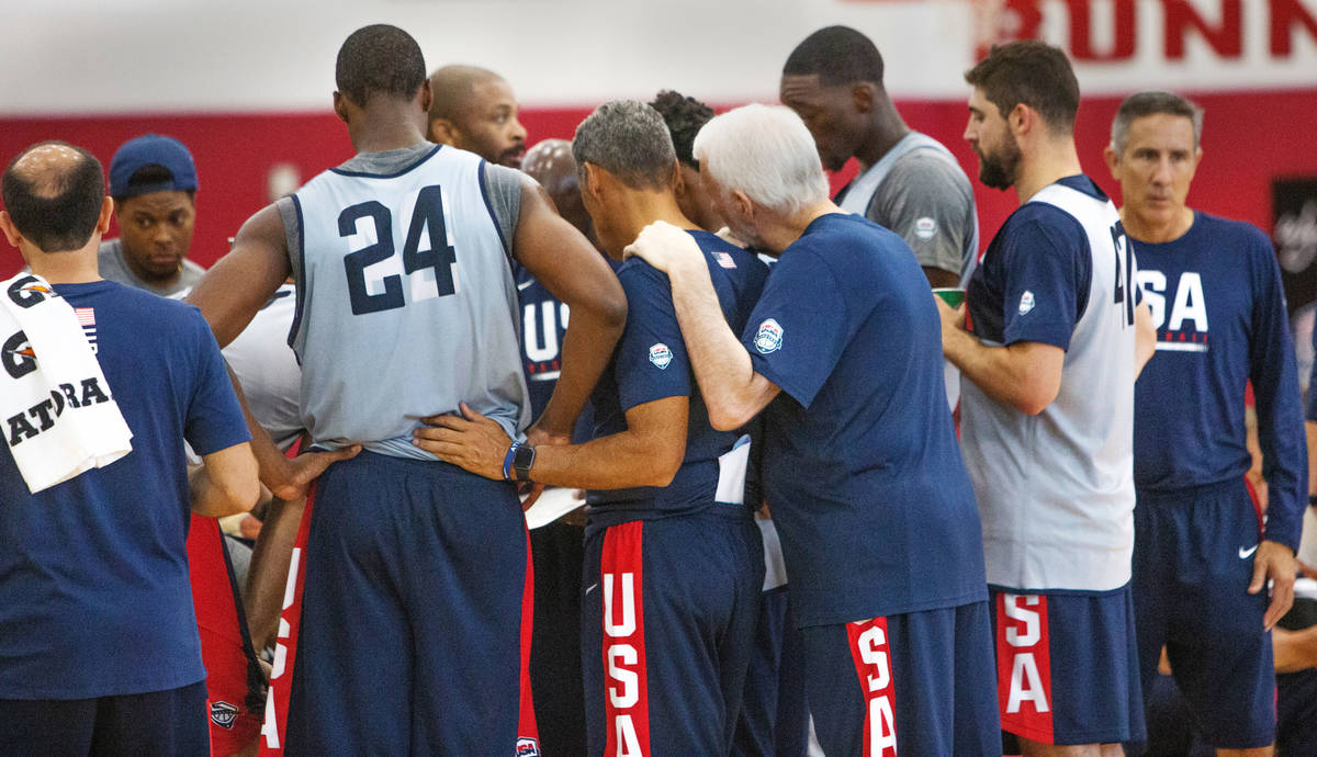 USA basketball players huddle while on a timeout during the USA basketball scrimmage game at UN ...