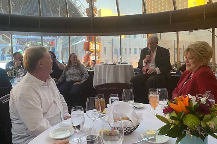 Raiders owner Mark Davis is shown with Las Vegas Mayor Carolyn Goodman and ex-Mayor Oscar Goodm ...