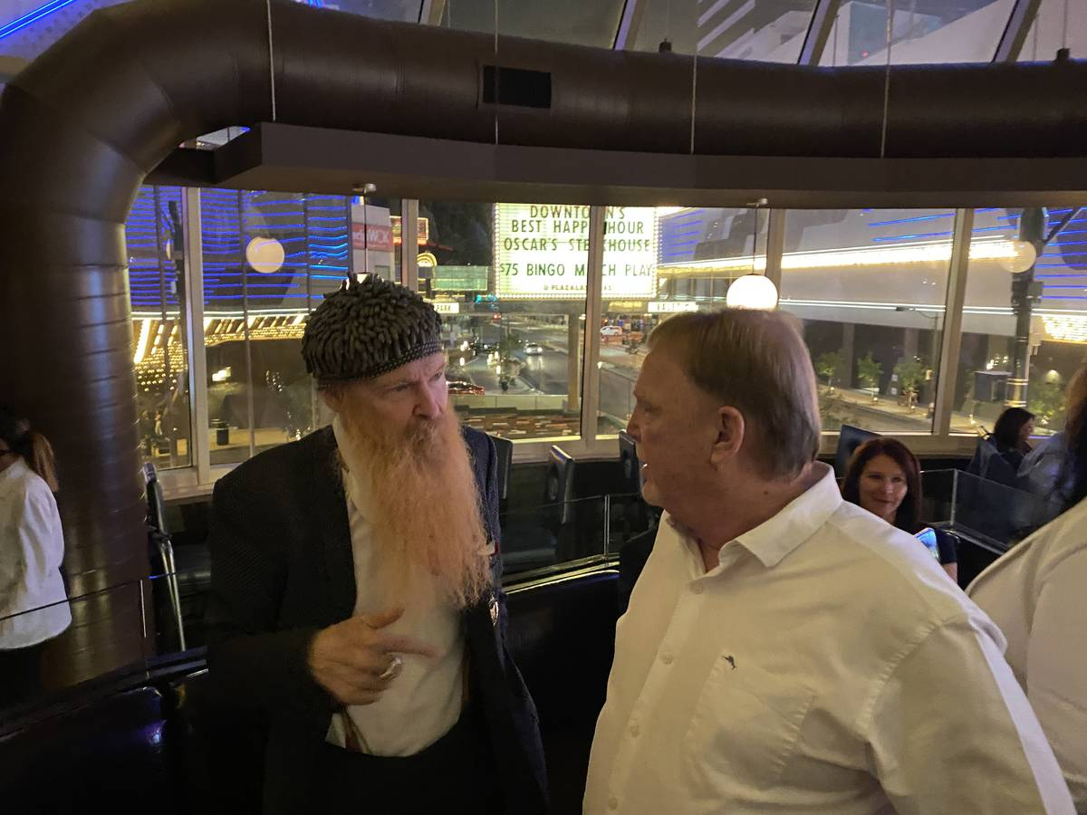 Billy Gibbons of ZZ Top is shown just after meeting Raiders owner Mark Davis for the first time ...