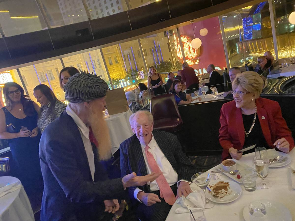 Billy Gibbons of ZZ Top is shown with Las Vegas Mayor Carolyn Goodman and ex-Mayor Oscar Goodma ...