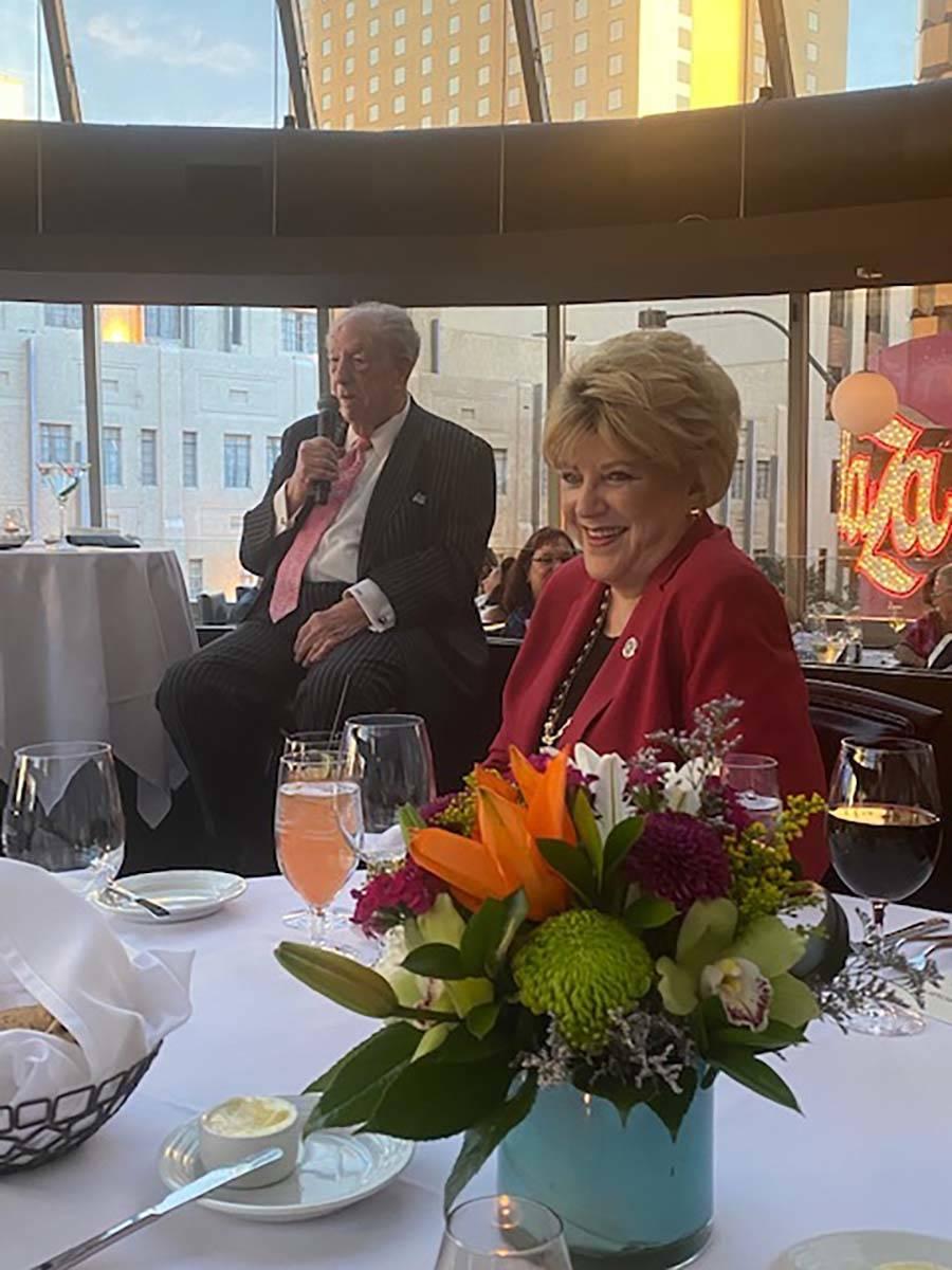 Las Vegas Mayor Carolyn Goodman and ex-Mayor Oscar Goodman are shown during Oscar Goodman's din ...
