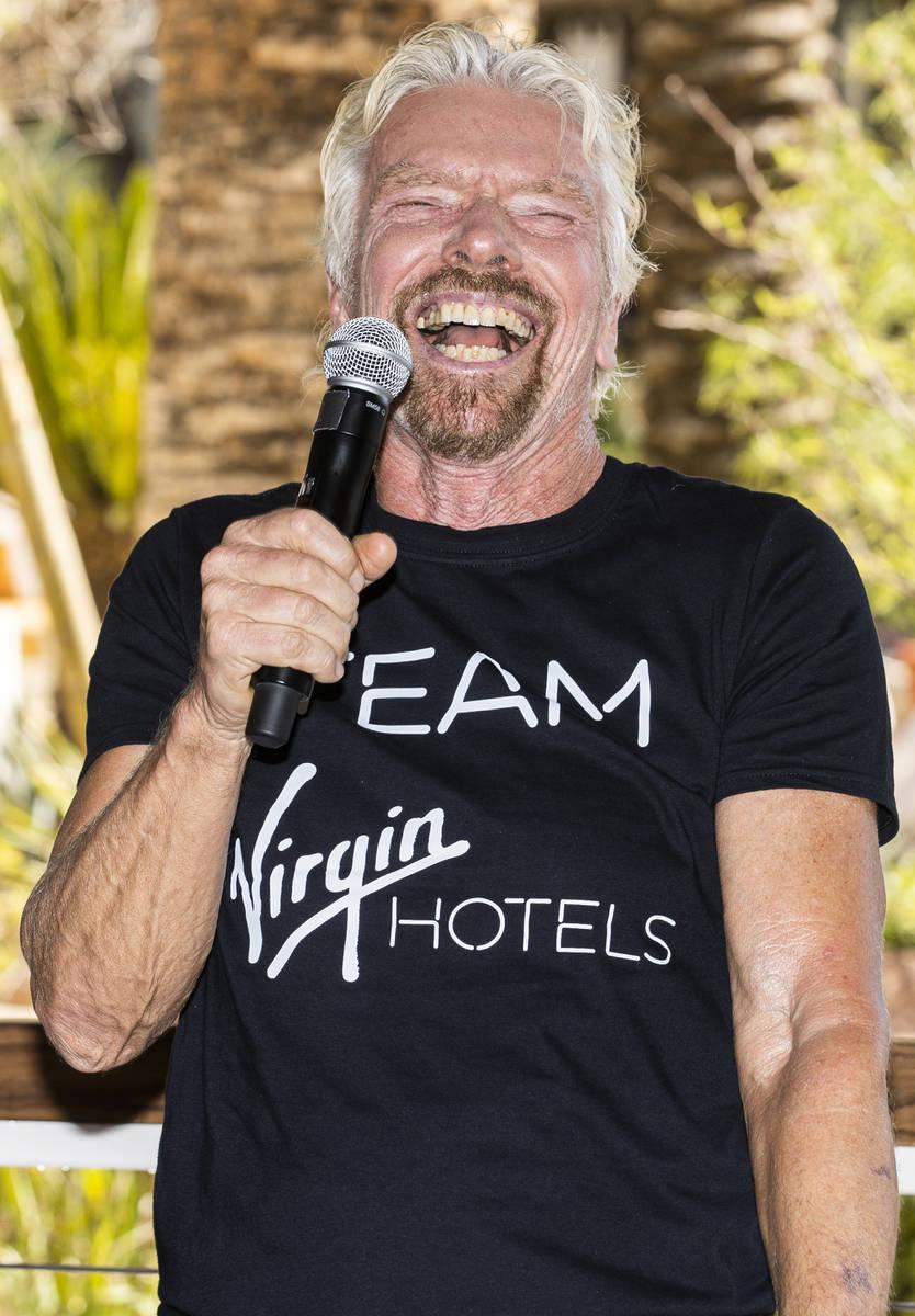 "Sir Richard Branson, founder of Virgin Group, addresses the media during the ""Unstoppable ..."