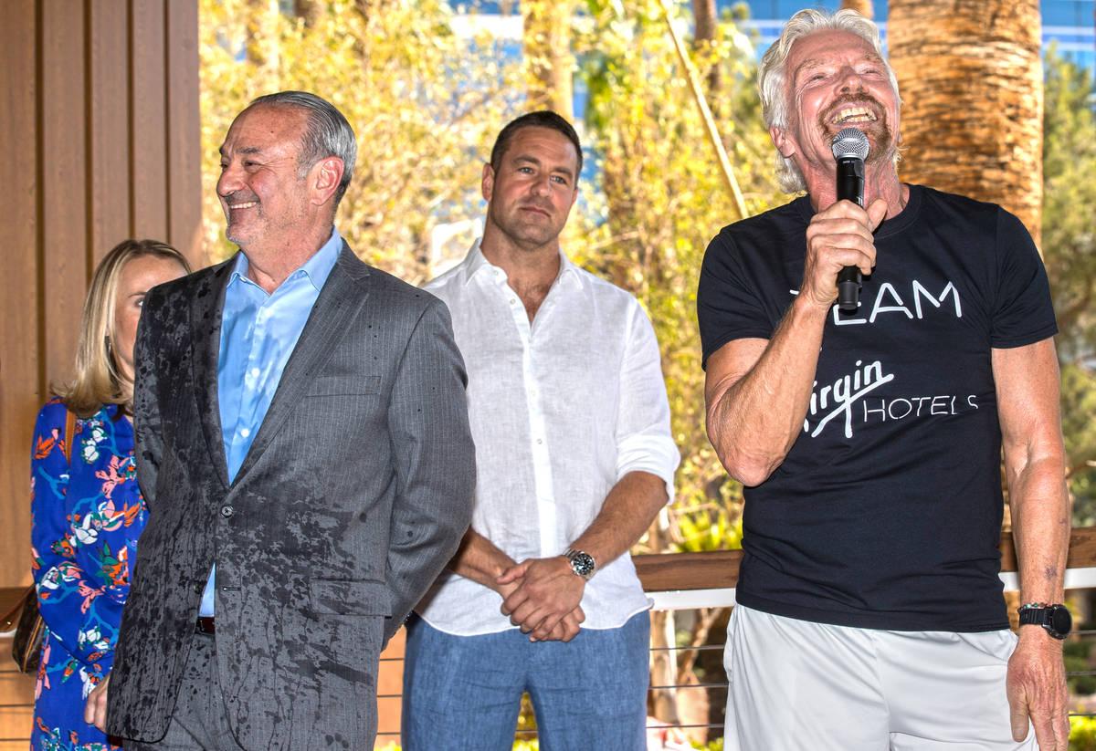 "Sir Richard Branson, right, founder of Virgin Group, and Richard ""Boz"" Bosworth, owner of Virgi ..."