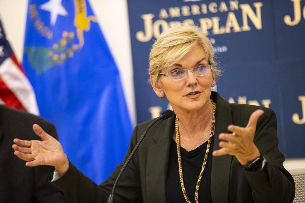 Energy Secretary Jennifer Granholm speaks during a roundtable discussion with clean energy advo ...