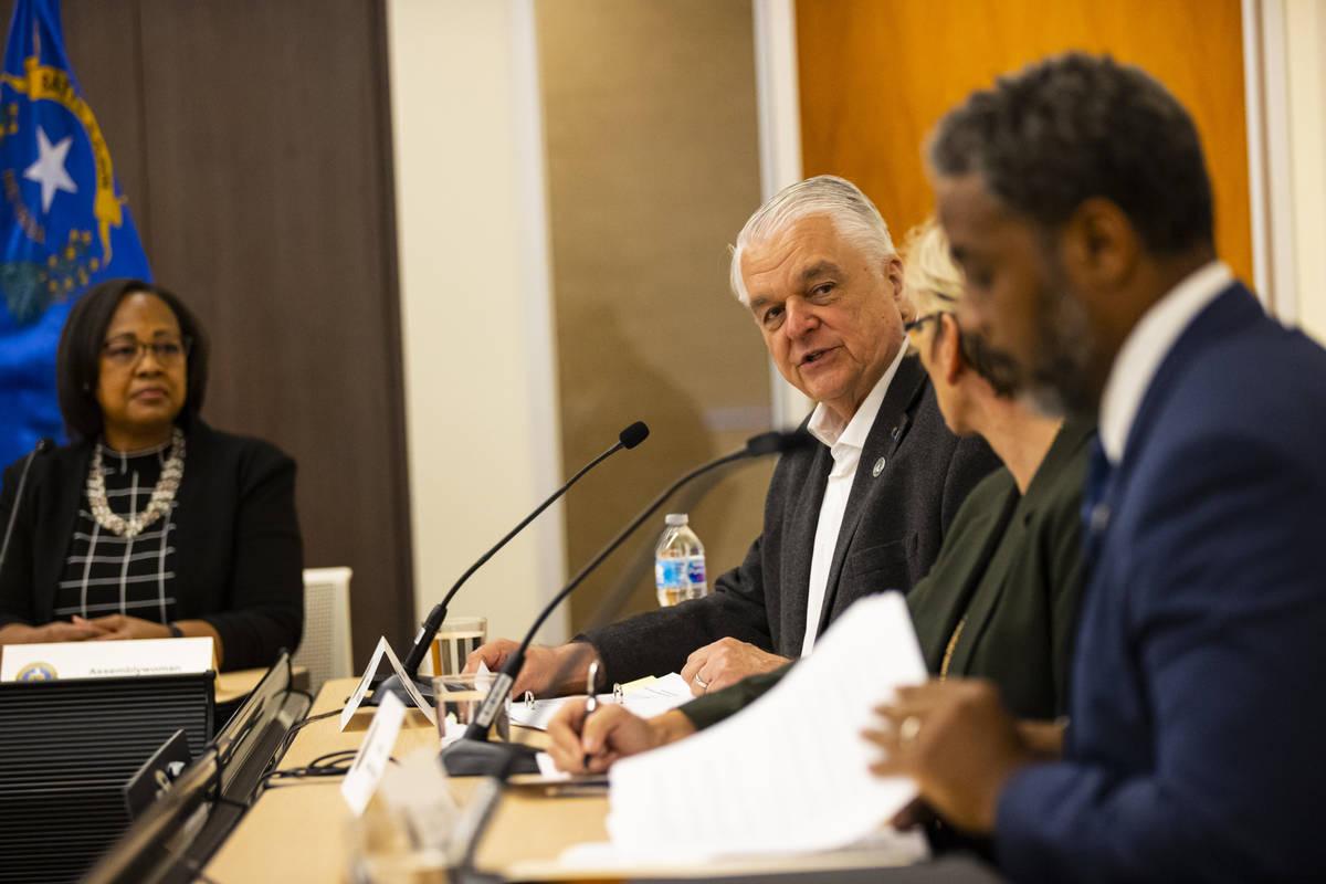 Gov. Steve Sisolak speaks during a roundtable discussion with Energy Secretary Jennifer Granhol ...