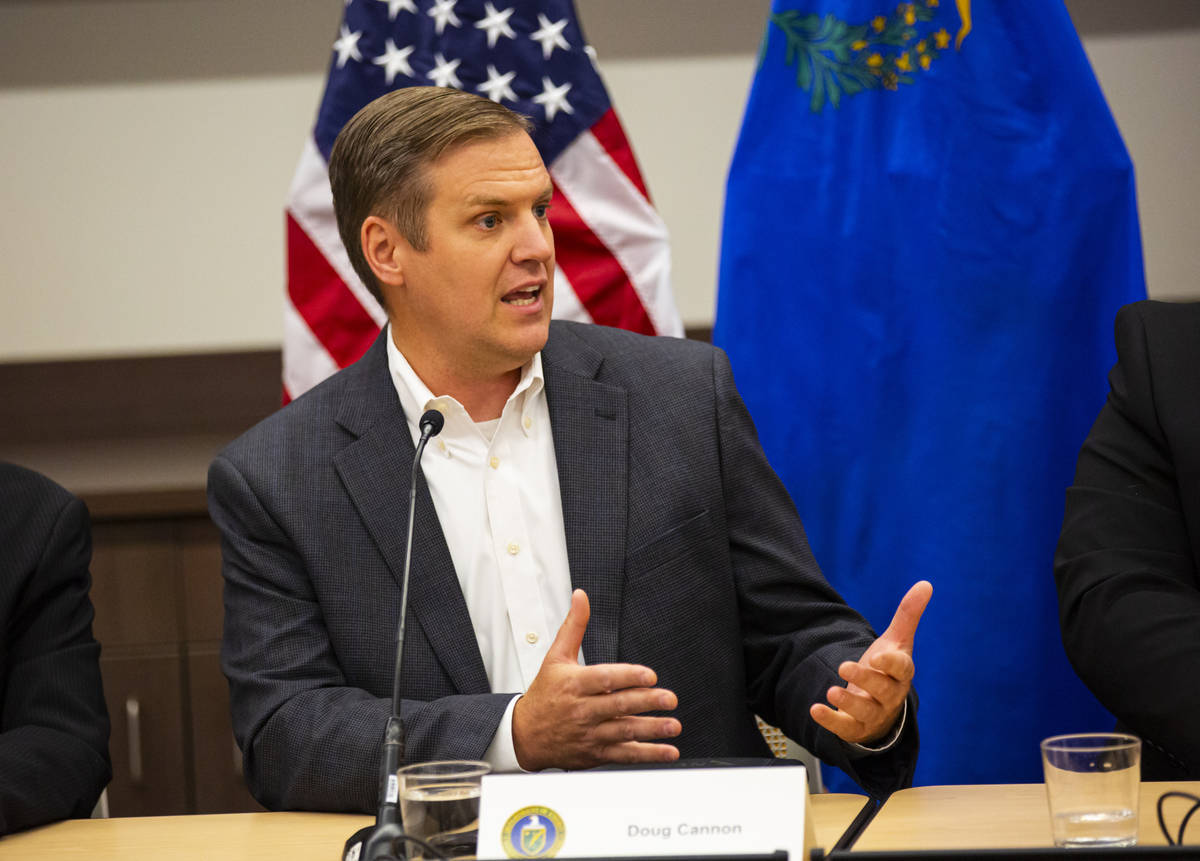 Doug Cannon, president and CEO of NV Energy, speaks during a roundtable discussion with Energy ...