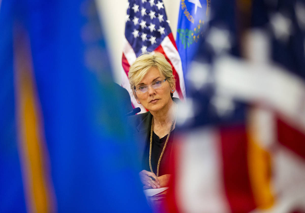 Energy Secretary Jennifer Granholm listens to participants during a roundtable discussion with ...