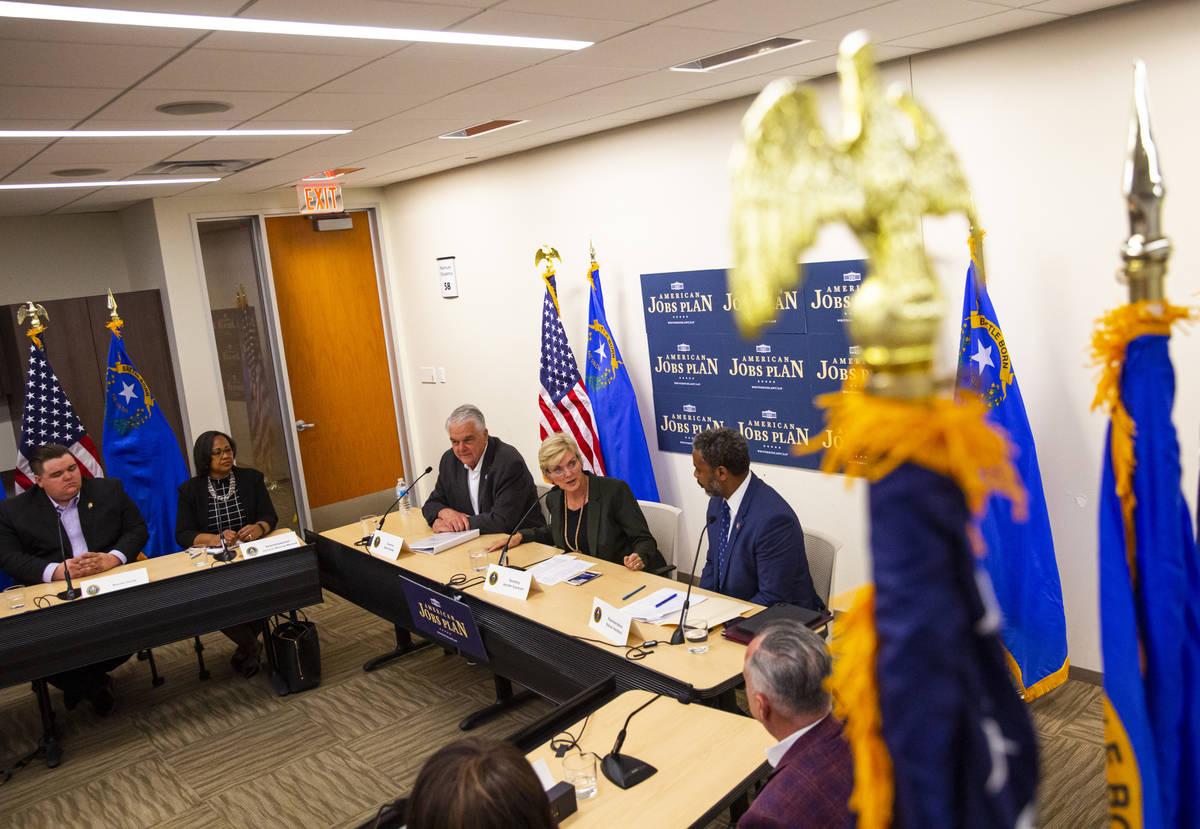 Energy Secretary Jennifer Granholm, center, speaks alongside Gov. Steve Sisolak, left, and U.S. ...