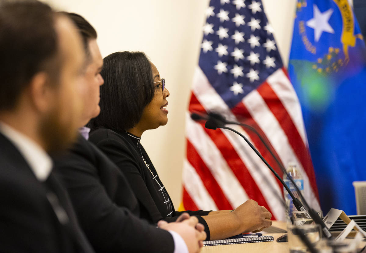 Assemblywoman Daniele Monroe-Moreno speaks during a roundtable discussion with Energy Secretary ...