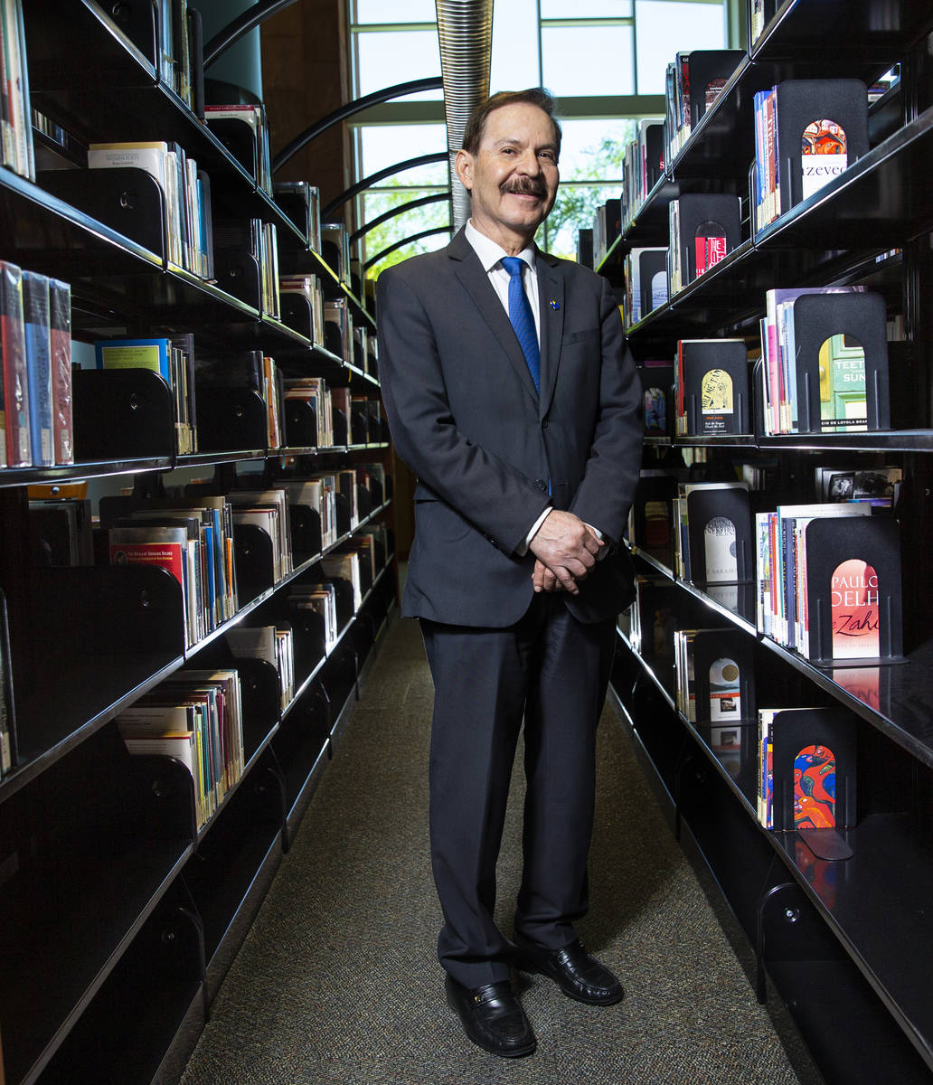 Dr. Federico Zaragoza, president of the College of Southern Nevada, poses for a portrait in the ...