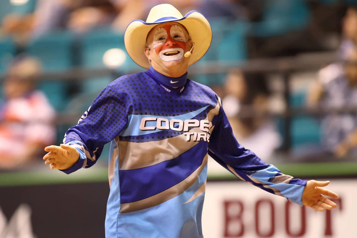 Rodeo clown Flint Rasmussen works the crowd during the Professional Bull Riders Las Vegas Invit ...