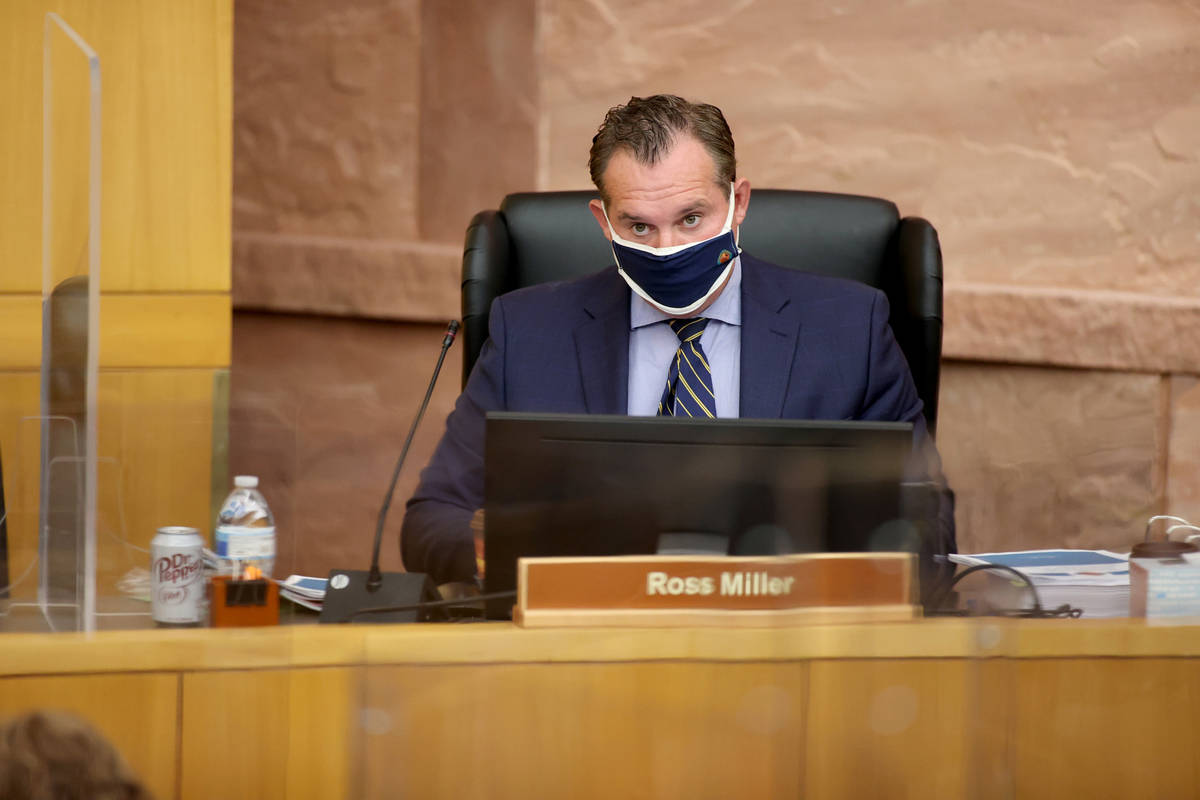 Clark County Commissioner Ross Miller during a commission meeting in Las Vegas Tuesday, April 2 ...