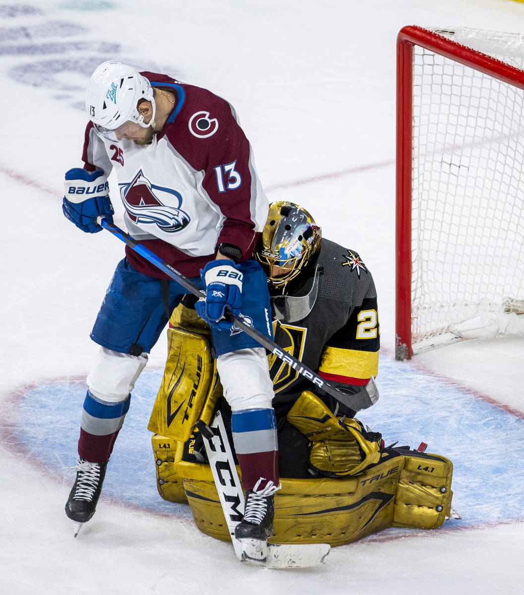 Colorado Avalanche right wing Valeri Nichushkin (13) has a shot defended by Golden Knights goal ...