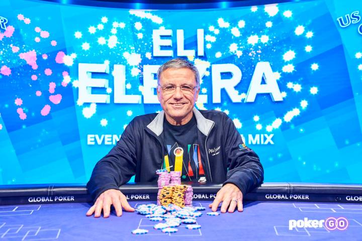 Eli Elezra after winning the $10,000 buy-in 8-Game Mix at the U.S. Poker Open on Wednesday, Jun ...