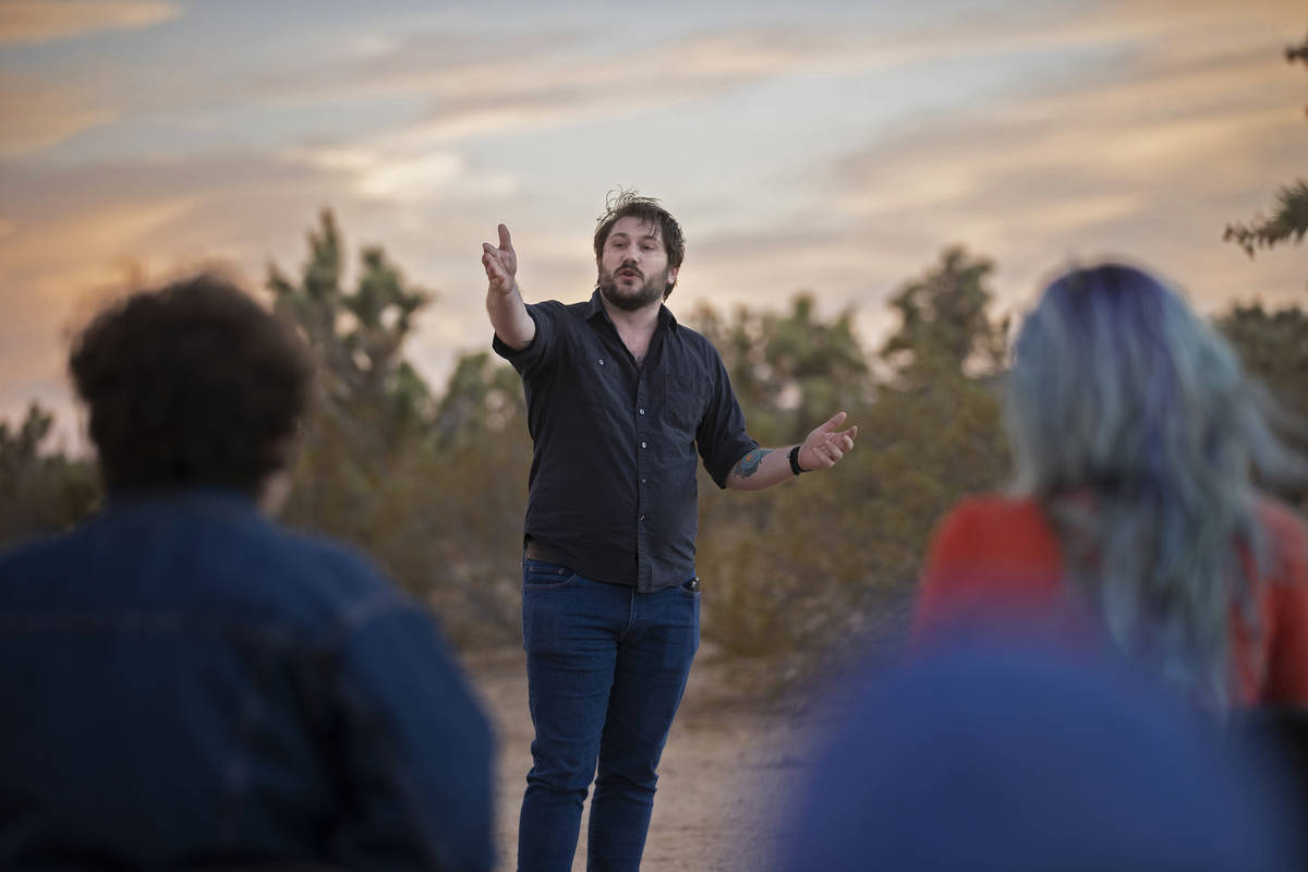 Gabriel Di Chiara, with the Nevada Conservation League, addresses attendees during an event to ...