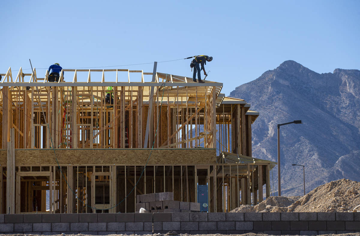 Construction continues on homes north of Far Hills Avenue in the Summerlin area of Las Vegas on ...