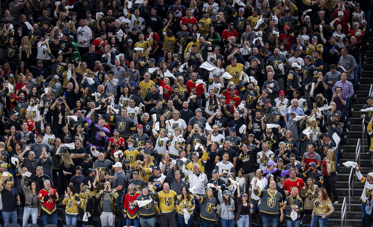 Golden Knights fans celebrate another goal over the Colorado Avalanche during the third period ...