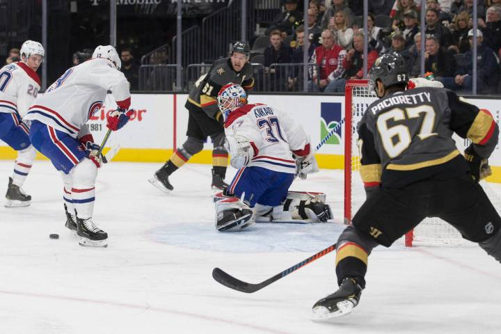 Vegas Golden Knights left wing Max Pacioretty (67) shoots on Montreal Canadiens goaltender Keit ...