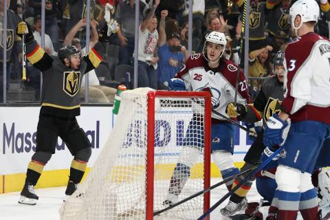 Vegas Golden Knights center Jonathan Marchessault (81) reacts after a shot for a score against ...