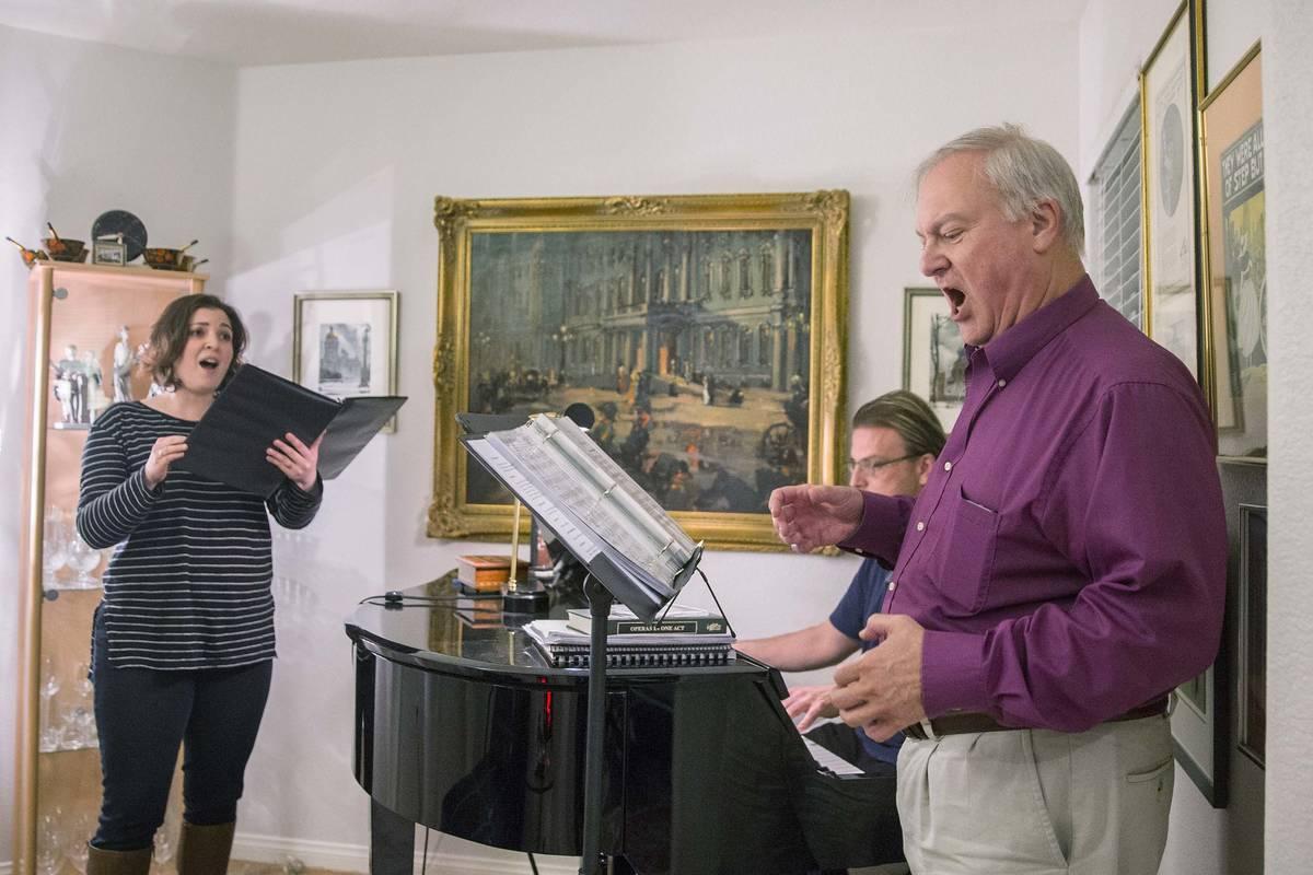 """Director Jim Sohre, right, rehearses with Athena Mertes for Opera Las Vegas' """"Bravo, Bernstein! ..."""