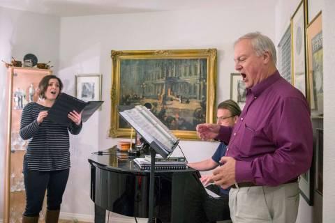 "Opera Las Vegas director Jim Sohre, right, rehearses with Athena Mertes for Opera Las Vegas' ""B ..."
