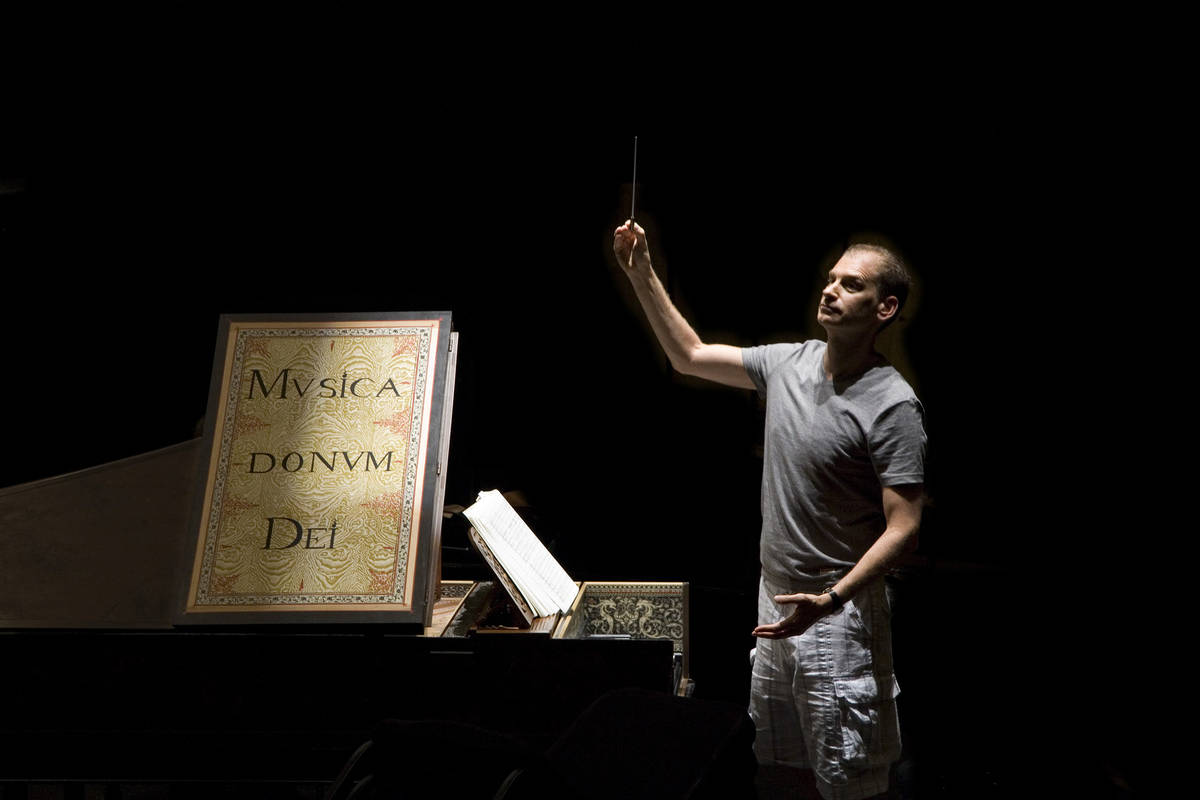 Conductor Gregory Buchalter, who is the Artistic Director of Opera Las Vegas, conducts a scene ...