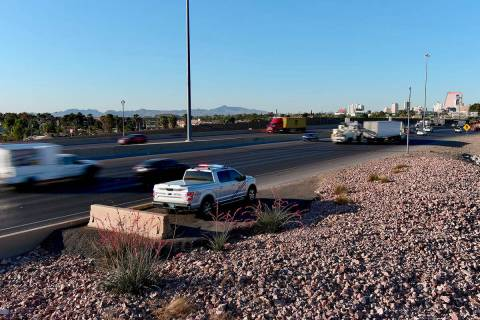 This is a strategic traffic management site on I-15 SB near Lake Mead where an NHP trooper is s ...