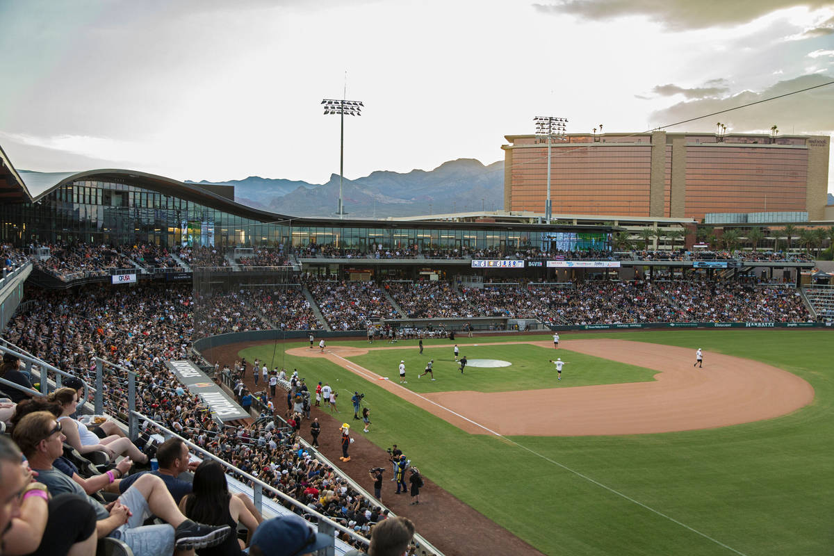 Las Vegas Ballpark is packed during the Battle For Vegas Charity Softball Game benefiting the T ...