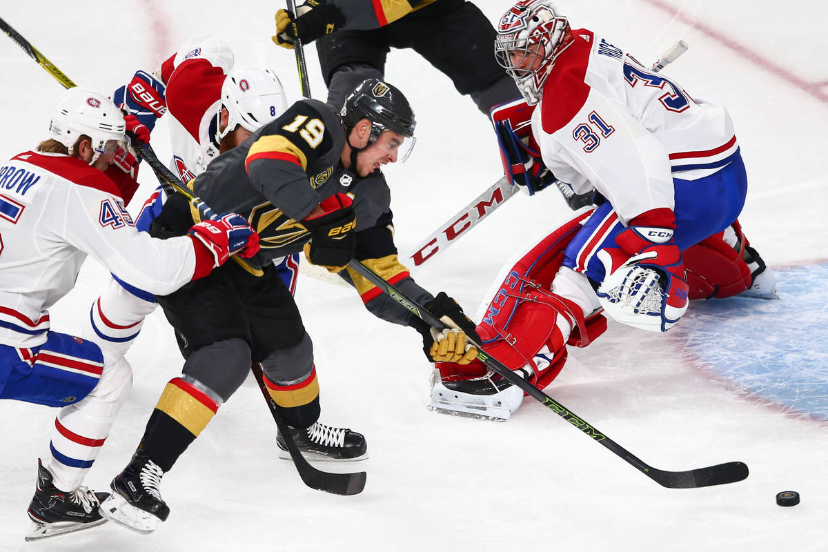 Golden Knights right wing Reilly Smith (19) lines up his shot to score against Montreal Canadie ...