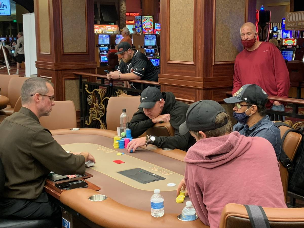 The final three players in the Benny Binion Summer Shootout poker tournament Saturday, June 12, ...