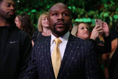 FILE--Floyd Mayweather attends the fight between Deontay Wilder and Luis Ortiz for the WBC heav ...