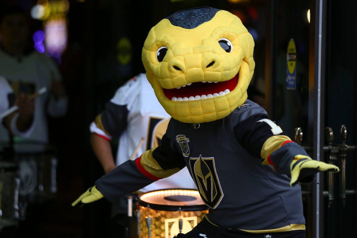 Golden Knights mascot Chance participates in a pregame parade at the New York-New York before a ...
