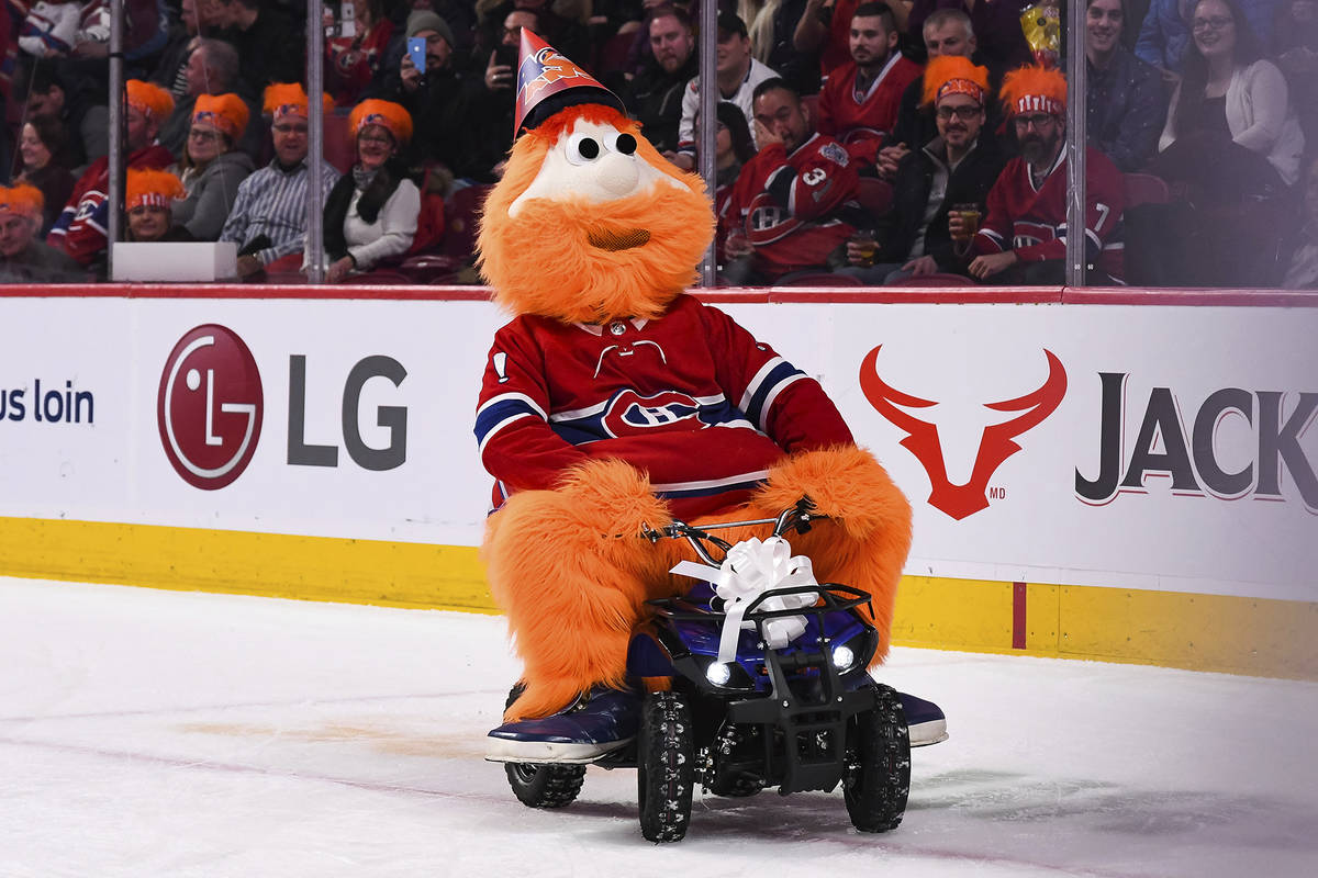 January 12, 2019: Montreal Canadiens mascot Youppi rides his birthday gift for his 40th anniver ...
