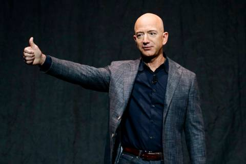 In this Thursday, May 9, 2019, file photo, Jeff Bezos speaks at an event before unveiling Blue ...