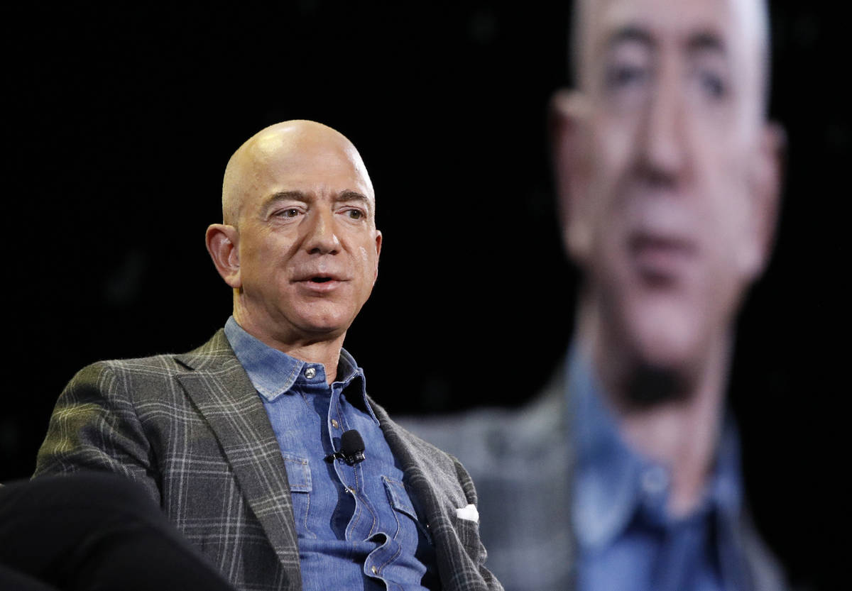 In this June 6, 2019, file photo Amazon CEO Jeff Bezos speaks at the the Amazon re:MARS convent ...