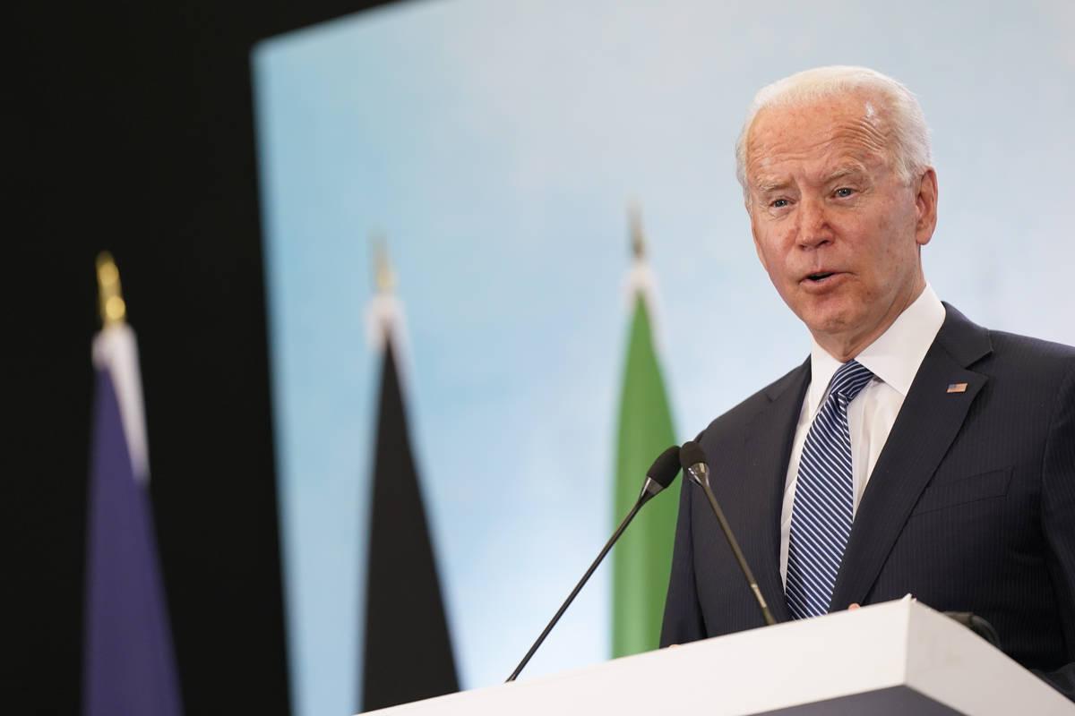 President Joe Biden speaks during a news conference after attending the G-7 summit, Sunday, Jun ...