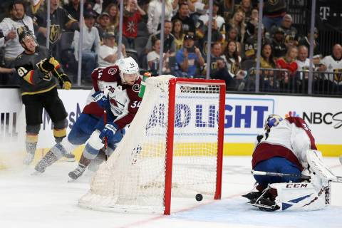 Vegas Golden Knights center Jonathan Marchessault (81) takes a shot for a score against Colorad ...