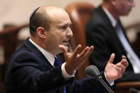 Israel's designated new prime minister, Naftali Bennett speaks during a Knesset session in Jeru ...