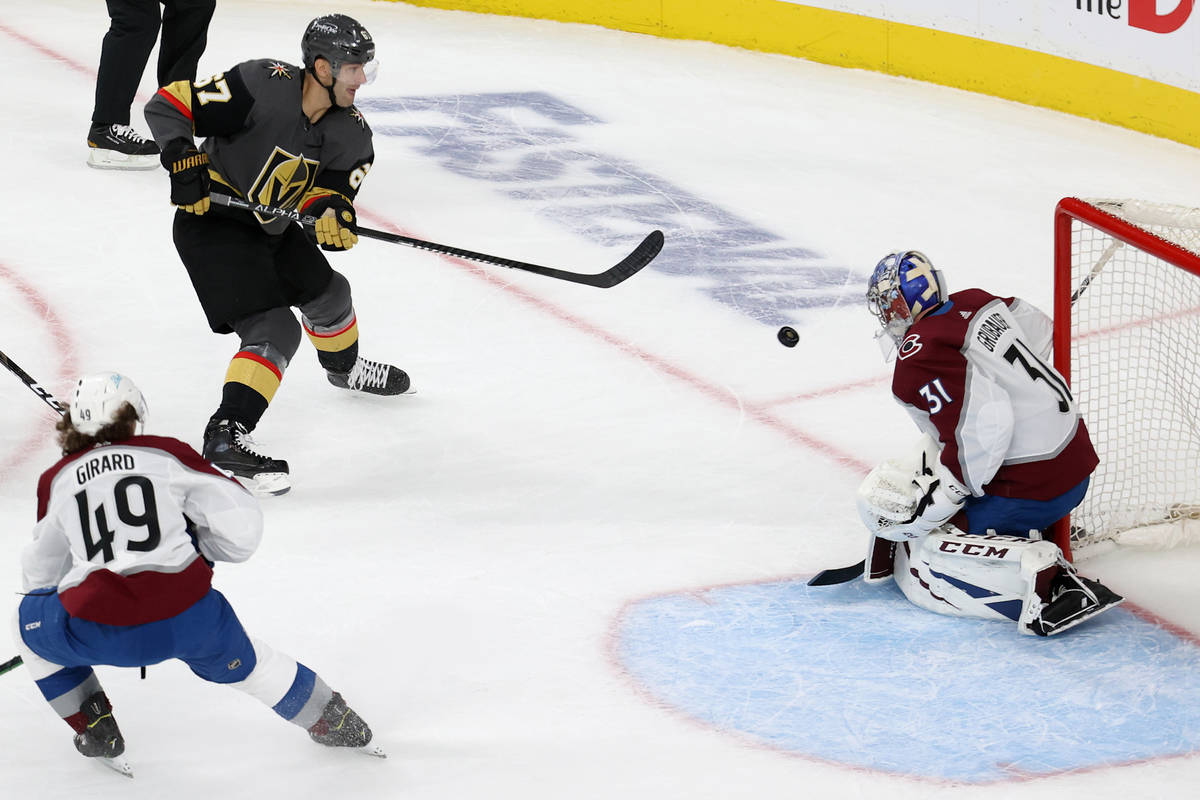 Vegas Golden Knights left wing Max Pacioretty (67) takes a shot at the goal against Colorado Av ...